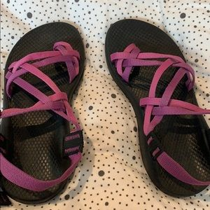 Pink and purple women's chacos